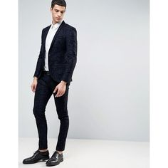 Noak Super Skinny Suit Trousers With Flocking (150 BRL) ❤ liked on Polyvore featuring men's fashion, men's clothing, men's pants, men's dress pants, mens skinny pants, mens stretch dress pants, mens skinny suit pants, mens super skinny dress pants and mens skinny dress pants