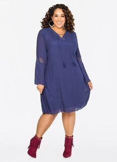 ae965b8933 Crochet Inset Boho Dress-Plus Size Dresses-Ashley Stewart-010-42638X
