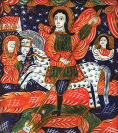"""Icoană românească pe sticlă, """"Sfântul Gheorghe omorând balaurul"""", realizată de meșterul Petru Tămaș (tatăl), Făgăraș, a doua jumătate a sec. XIX Painting, Art, Art Background, Painting Art, Kunst, Paintings, Performing Arts, Painted Canvas, Drawings"""
