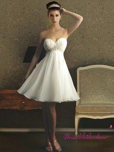 Empire Hochzeitskleid kurz Pailletten für Standesamt GWRW146 €240.80