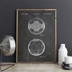 Soccer Wall Decor soccer patent posters group of 4, soccer gifts, sports decor