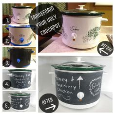 Normally, I'm not crazy about the chalkboard craze, but this is really cute. Would be fun at a party to have the recipes of dips on the outside of mini crocks. Chalkboard Paint Your Ugly Crockpot