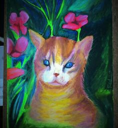 Oil pastel Cat with flowers by Rod Normando