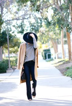 Hat On: Camel Coat and Flare Jeans