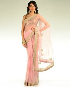 Baby Pink Net Sari
