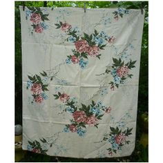 Cottage Coral Pink Roses Blue White Flowers Green Leaves Barkcloth Panel