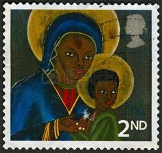 A stamp printed in UK shows image of The Black Madonna and Child from Haiti, circa 2005.