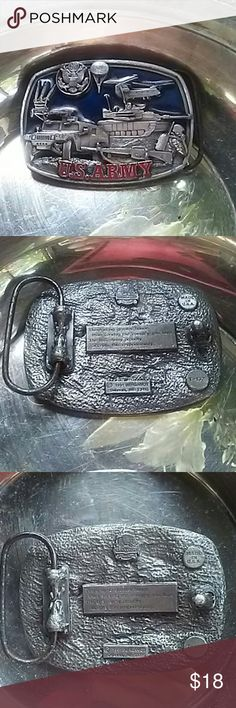 U s Army belt buckle 1991 Bergamot made in U.S A. Engraved on backside. There. Is no greater honor than serving the country you love. The US Army proudly accepts this responsibility.  Front side displays a beautiful scene with red and blue enamel. Bergamot  Accessories Belts