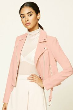 A faux leather moto jacket featuring an asymmetrical zippered front, front zippered pockets, collar, and a belted waist. Pink Outfits, Pretty Outfits, Fall Outfits, Anniversary Outfit, Fashion Week 2016, Outerwear Women, Outerwear Jackets, Moto Jacket, Leather Jacket