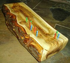 Rustic Twisted Hardwood Log Cribbage Board-features Natural Bark Accents