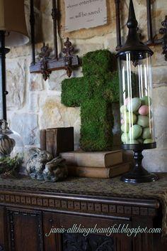 All Things Beautiful: Moss Cross DIY - Spring Entryway Decor