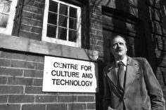 McLuhan beside his humble Coach House which held his Centre for Culture & Technology, at St. Michael's College in the University of Toronto. Marshall Mcluhan, Culture, Technology, Philosophy, Cinema, Coach House, University Of Toronto, Writers, Hold On