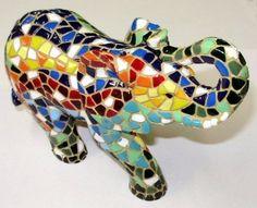 "Barcino Designs Trencadis Spanish Mosaic 5"" Elephant Multi-Colored Figurine NIB"