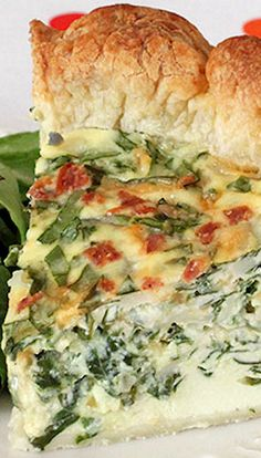 Cheesy Spinach & Bacon Puff Pastry Quiche..