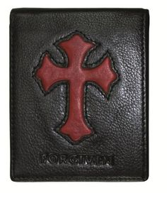 Genuine Leather Wallet - Cross Forgiven - for only Christian Art Gifts, Purse Wallet, Leather Wallet, Purses And Bags, Wallets, My Style, Stuff To Buy, Black, Black People