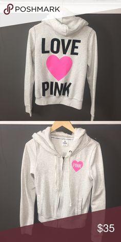 PINK Love Pink Hoodie 💓 how cute is this? 😍 PINK Victoria's Secret Tops Sweatshirts & Hoodies