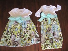 Infant Gown or Dress in Aqua, Lime Green, Gray Floral Print - pinned by pin4etsy.com