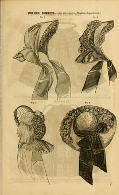 Godey's lady's book 1861 July. Summer Bonnets. (descr p. 95 of bk) Fig 1 - Leghorn bonnet, with a wide green ribbon laid plainly over it; on the left side is a large bunch of lilacs; ruche of violet crape in the inside of the bonnet, but not extending down the sides. Fig 2 - Leghorn bonnet, with fancy open crown, trimmed with black ribbon and scarlet flowers; the cape and front of bonnet are bound with scarlet velvet. Fig 3 - Fancy straw bonnet, with edge of front bound with black velvet...