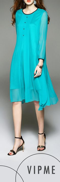 Lake Blue For Elegance, Peace and Love. Silk Midi Dress is Now On Sale! Shop On VIPme.com NOW!
