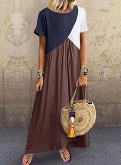 kleider Crew Neck Brown Women Shift Beach Cotton-Blend Shift Color-block,Leather-paneled Dresses Source by maxi dress Maxi Dress With Sleeves, Short Sleeve Dresses, Sleeved Dress, Shirt Dress, Short Sleeves, Dress Skirt, Types Of Sleeves, Long Sleeve, Blouse