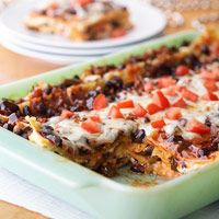 Easy, Wonderful Black Bean Lasagna...I got the recipe from my daughters mother-in-law, her additions are as follows:    Add one additional can of mashed black beans for more black bean texture and less tomato taste