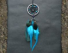 Small dreamcatcher rear view mirror charm car accessory car decor hippie boho turquoise amethyst fluorite gemstone dream catcher