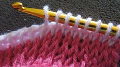 (Crochet) How To - Crochet Tunisian Simple Stitch and Knit Stitch