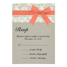 Lace Ribbon Gray Coral Wedding RSVP Card