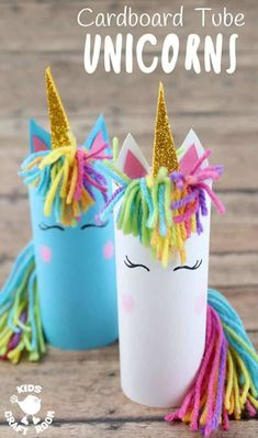 Who can resist unicorns? Don't they capture all things childhood and magical? Here's the most adorable Cardboard Tube Unicorn Craft kids will fall in love with. They're easy to make and their fingerprint rosy cheeks add a lovely personal touch! Unicorn Kids, Unicorn Crafts, Unicorn Party, Unicorn Birthday, Wine Bottle Crafts, Mason Jar Crafts, Craft Activities, Preschool Crafts, 5 Year Old Activities