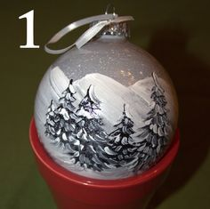 Black And White Hand Painted Christmas Ornament By Echutson 18 50 Ornaments