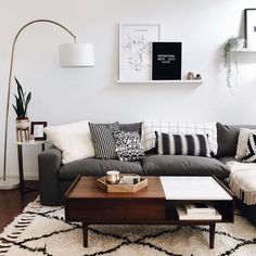 42 Best Modern Apartment for 2019 & 68 Minimalist Living Room Design Ideas Small Living Rooms, Home Living Room, Living Room Lamps, Gray Couch Living Room, Living Room Apartment, Living Room Decor Black And White, Black White Decor, Small Living Room Designs, Dark Couch