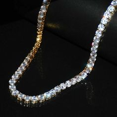 Stunning 2MM D//VVS1 Diamond 1-ROW 14K White Gold Over Silver Tennis Necklace