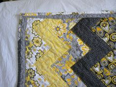 Yellow black gray and white zig zag baby quilt by MarvelousAuntieM, $60.00