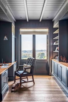 Dark blue walls in home office of beautiful modern farmhouse in the New South Wales Southern Highlands. Antique White Usa, Marble Benchtop, Tumbled Marble Tile, Marble Bedroom, Dark Blue Walls, Study Nook, Highland Homes, Classic Interior, Sustainable Architecture