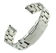 Ritche 24mm Stainless Steel Bracelet Watch Band Strap Straight End Solid Links Color Silver. Length 175mm Thickness 3.5mm. Silver Stainless Steel Solid Links Straight End.24mm width at the watch end and 20mm at the clasp end.