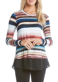 Karen Kane Wanderluxe Stripe Contrast Hem Top