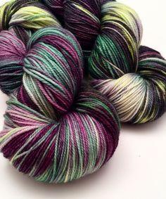 """Hand Dyed SW Merino and Nylon Fingering Yarn """"Hellebore"""" by CrookedKitchenYarn on Etsy"""