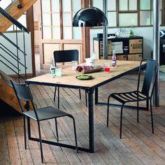 Table de salle à manger indus en bois et métal L 180 cm