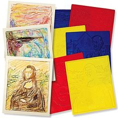 6 MASTERPIECE Rubbing Plates Art History Appreciation Teacher Montessori Gift | Education Treasures