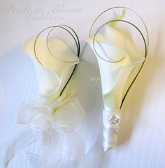 Wedding corsage boutonniere set white cream real touch calla lily