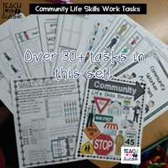 This set has work tasks that can be put in binders, file folders, or left loose to go into a work task area of the classroom. It helps students work on community workers/helpers, community signs, and community places.