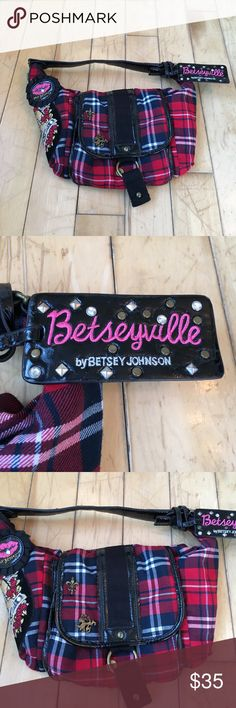 """Betsey Johnson Shoulder Bag Plaid shoulder bag with patches and pins. Pleather has cracks. Dimensions: 13"""" across, 8"""" tall, and bottom is about an 1"""". Reasonable offers accepted. Betsey Johnson Bags Shoulder Bags"""