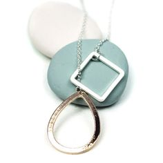Matt Silver Plated Square and Gold Plated Teardrop Necklace | eBay