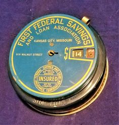 vintage ADD BANK First Federal Savings Kansas City steel coin register bank Missouri, Kansas City, Coins, Ads, Steel, Vintage, Ebay, Federal, Coining