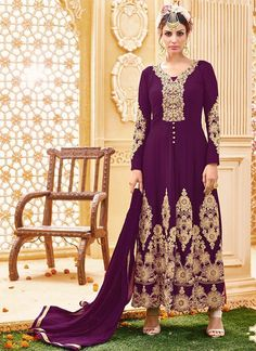 Shop Online Magenta Georgette Long Length Salwar Suit @Chennaistore.com
