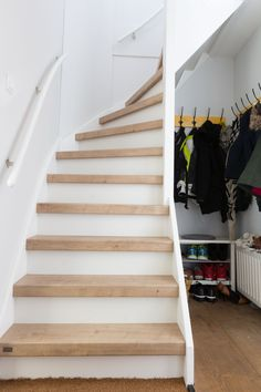 Basement Renovations, Home Renovation, Home Remodeling, Stair Railing Design, Stair Decor, Closet Storage Systems, Stair Storage, Small Space Staircase, House Stairs