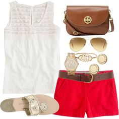OOTD by classically-preppy on Polyvore featuring J.Crew, Jack Rogers, Tory Burch, Michael Kors, MARC BY MARC JACOBS, Ray-Ban, Warehouse, lace, aviator sunglasses and red shorts