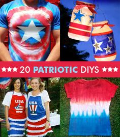 20 Patriotic Craft DIYS - the star t-shirt would be awesome for a Captain America party, too!