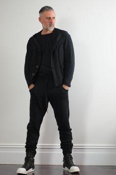 937132b68887f2 Men s Handmade black drop-crotch sweat pants. Minimalist mens fashion  clothing. Goth ninja