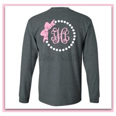 Monogram Pearl T Shirt Long Sleeved Tee Monogram Bridal Party Tee ($26) ❤ liked on Polyvore featuring tops, t-shirts, black, women's clothing, christmas t shirts, christmas tee, monogrammed pocket t shirts, bride t shirt and long sleeve t shirt
